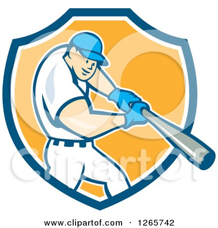 Clipart Of A Cartoon White Male Baseball Player Batting In A Blue White And Yellow Shield Royalty Free Vector Illustration