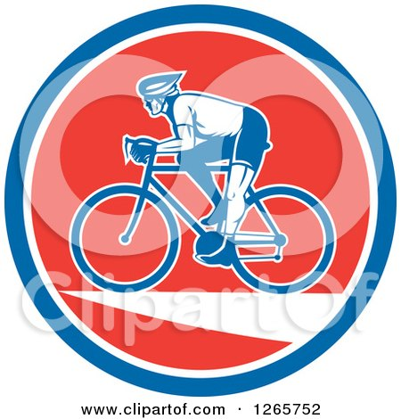 Clipart of a Retro Male Cyclist in a Blue White and Red Circle - Royalty Free Vector Illustration by patrimonio