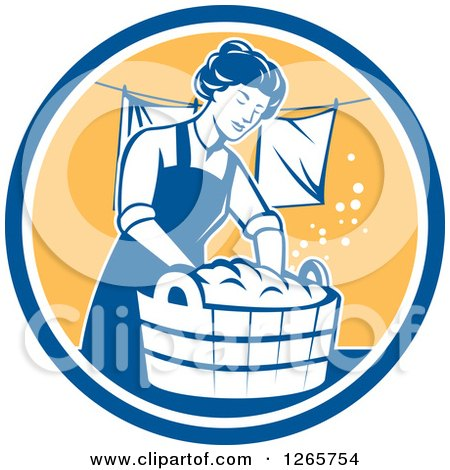 Clipart of a Retro Housewife Woman Doing Laundry in a Blue White and Yellow Circle - Royalty Free Vector Illustration by patrimonio