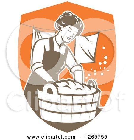 Clipart of a Retro Housewife Woman Doing Laundry in a Brown and Orange Shield - Royalty Free Vector Illustration by patrimonio