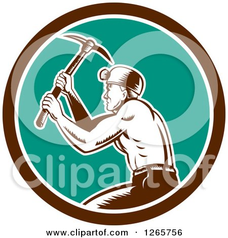 Clipart of a Retro Woodcut Miner Working with a Pickaxe in a Brown White and Turquoise Circle - Royalty Free Vector Illustration by patrimonio