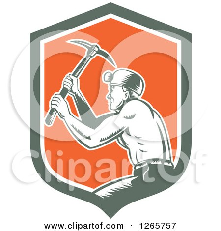 Clipart of a Retro Woodcut Miner Working with a Pickaxe in a Green White and Orange Shield - Royalty Free Vector Illustration by patrimonio