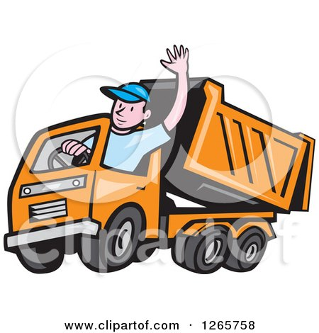 Clipart of a Cartoon White Male Dump Truck Driver Waving - Royalty Free Vector Illustration by patrimonio