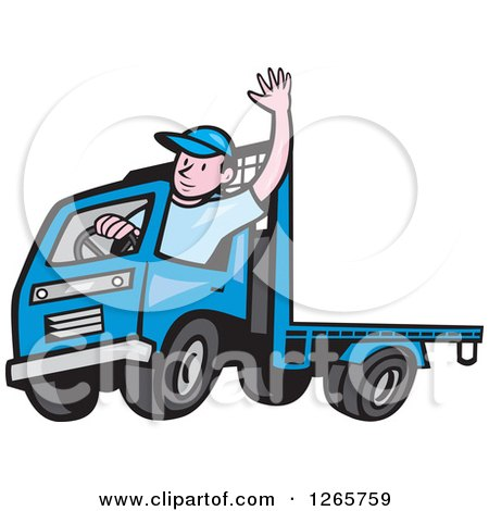 Clipart of a Cartoon White Male Flatbed Truck Driver Waving - Royalty Free Vector Illustration by patrimonio