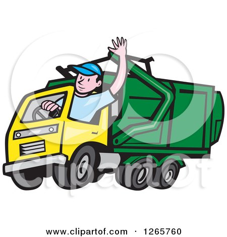 Clipart of a Cartoon White Male Garbage Truck Driver Waving - Royalty Free Vector Illustration by patrimonio