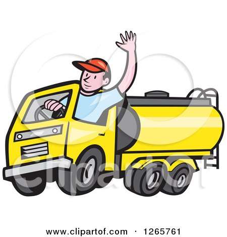 Clipart of a Cartoon White Male Tanker Truck Driver Waving - Royalty Free Vector Illustration by patrimonio