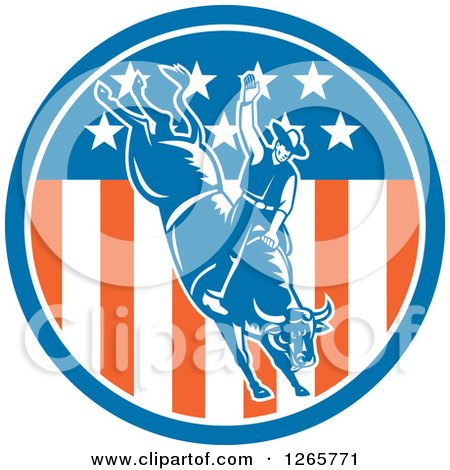 Clipart of a Retro Male Rodeo Cowboy on a Bucking Bull in an American Flag Circle - Royalty Free Vector Illustration by patrimonio