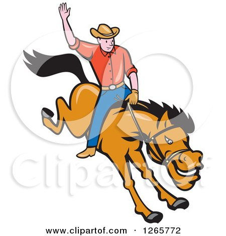 Clipart of a Cartoon Male Rodeo Cowboy on a Bucking Horse - Royalty Free Vector Illustration by patrimonio