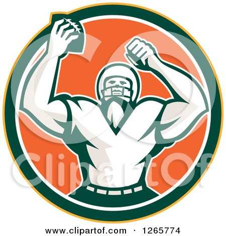 Clipart Of A Retro Cheering American Football Player In A Yellow Green White And Orange Circle Royalty Free Vector Illustration