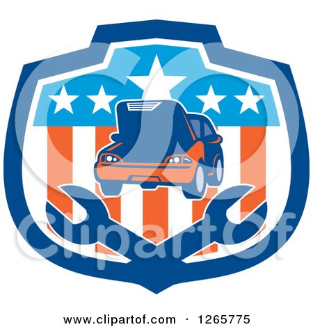 Clipart of a Car and Crossed Wrenches in an American Flag Shield - Royalty Free Vector Illustration by patrimonio