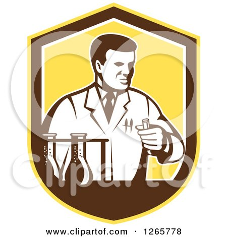 Clipart of a Retro Scientist Working with Lab Equipment in a Yellow Brown and White Shield - Royalty Free Vector Illustration by patrimonio