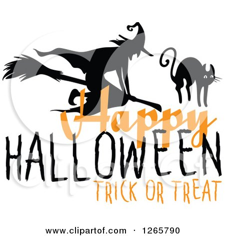 Clipart Of A Happy Halloween Trick Or Treat Witch And Cat Design   Royalty  Free Vector Illustration By Vector Tradition SM