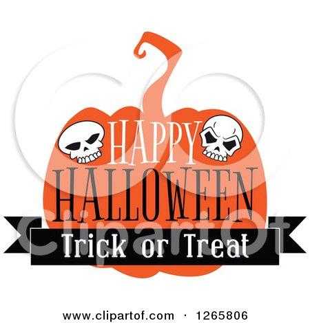 Happy Halloween Trick or Treat Skull and Pumpkin Design Posters, Art Prints
