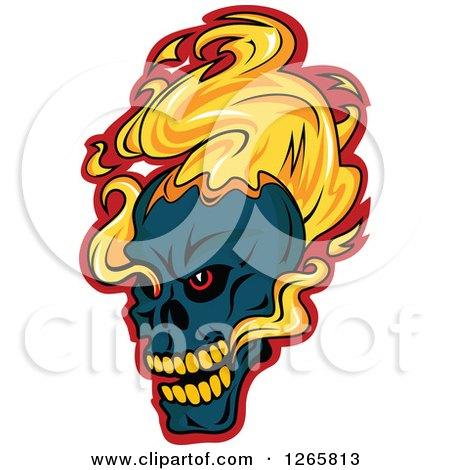 Clipart of a Navy Blue Demonic Skull on Fire, over Red - Royalty Free Vector Illustration by Vector Tradition SM