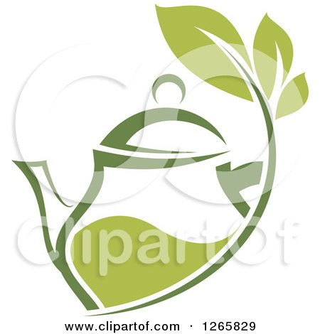 Clipart of a Green Tea Pot with Leaves - Royalty Free Vector Illustration by Vector Tradition SM