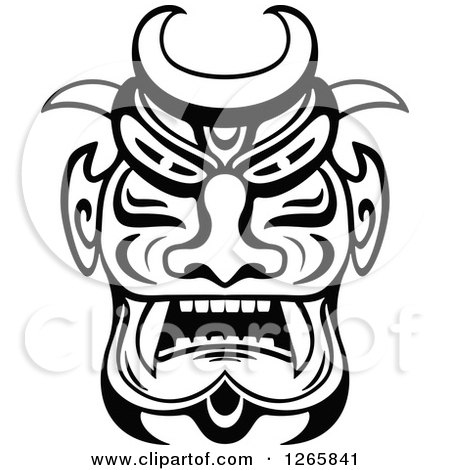 Clipart of a Black and White Tribal Mask - Royalty Free Vector Illustration by Vector Tradition SM