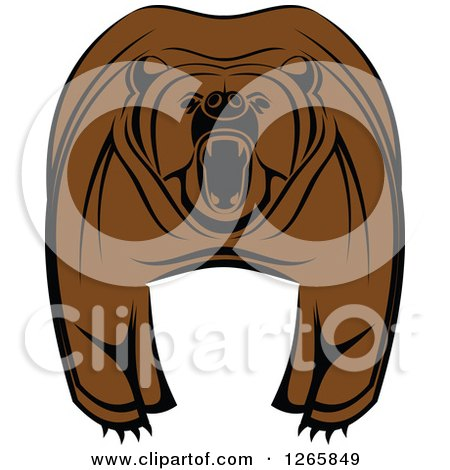 Clipart of a Brown Bear Roaring - Royalty Free Vector Illustration by Vector Tradition SM