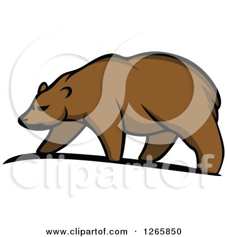 Clipart of a Brown Bear Walking - Royalty Free Vector Illustration by Vector Tradition SM
