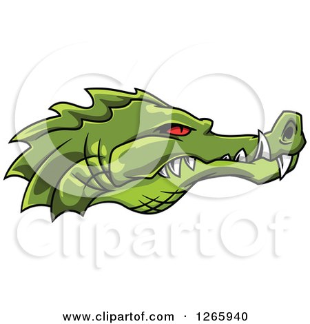 Clipart of a Red Eyed Green Crocodile Face in Profile - Royalty Free Vector Illustration by Vector Tradition SM