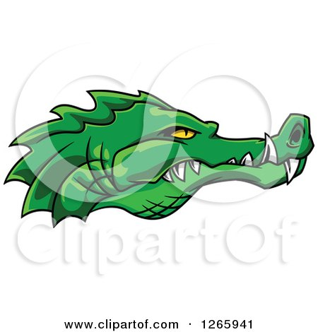 Clipart of a Green Crocodile Face in Profile with Sharp Teeth - Royalty Free Vector Illustration by Vector Tradition SM