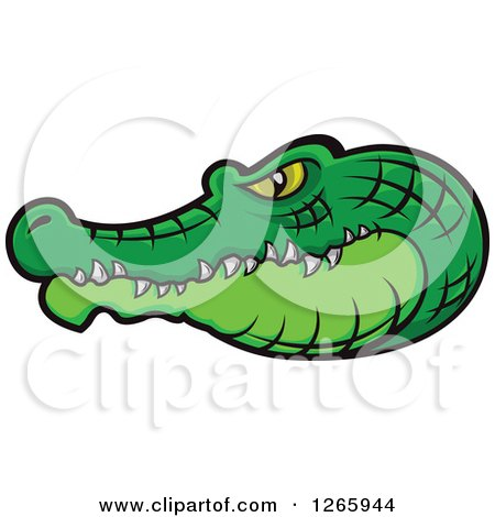 Clipart of a Green Crocodile Head in Profile - Royalty Free Vector Illustration by Vector Tradition SM