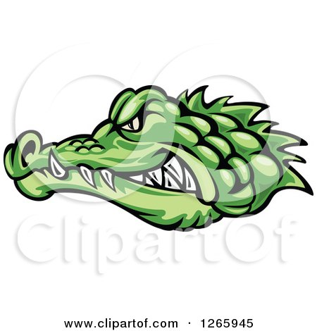 Clipart of an Aggressive Green Crocodile Face in Profile - Royalty Free Vector Illustration by Vector Tradition SM