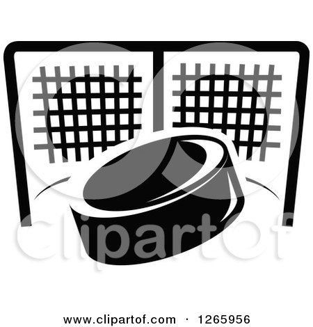 Clipart of a Black and White Hockey Puck and Net - Royalty Free Vector Illustration by Vector Tradition SM