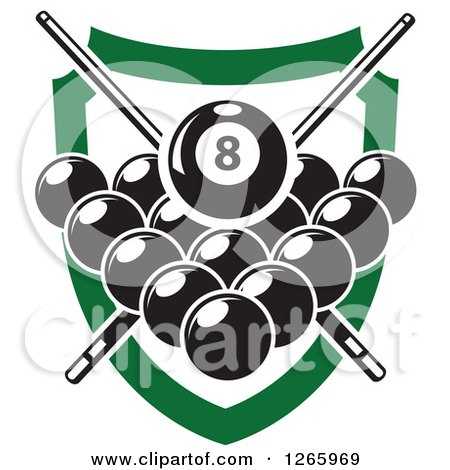 Clipart of a Billiards Pool Eight Ball and Crossed Cue Sticks over Other Balls and a Green Shield - Royalty Free Vector Illustration by Vector Tradition SM