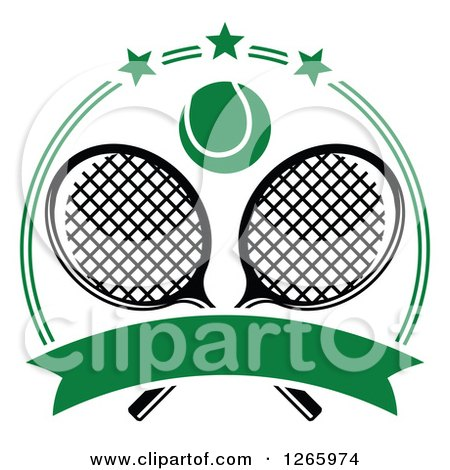 Clipart of a Tennis Ball over Crossed Rackets in a Green Circle with Stars and a Blank Banner - Royalty Free Vector Illustration by Vector Tradition SM
