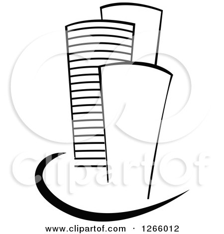Clipart of Black and White Skyscraper Buildings - Royalty Free Vector Illustration by Vector Tradition SM