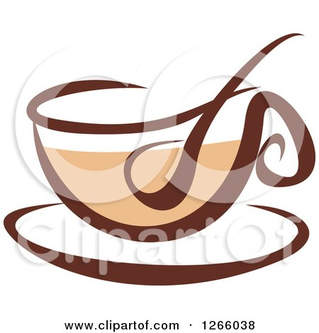 Clipart of a Brown Coffee Cup - Royalty Free Vector Illustration by Vector Tradition SM