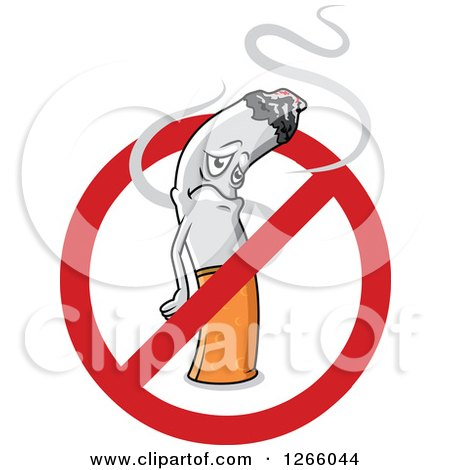 Clipart of a Sad Cigarette Inside a Restricted Symbol - Royalty Free Vector Illustration by Vector Tradition SM