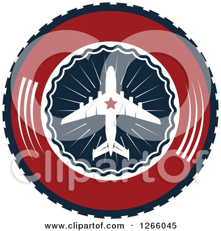 Clipart of a Red Blue and White Airplane Logo - Royalty Free Vector Illustration by Vector Tradition SM