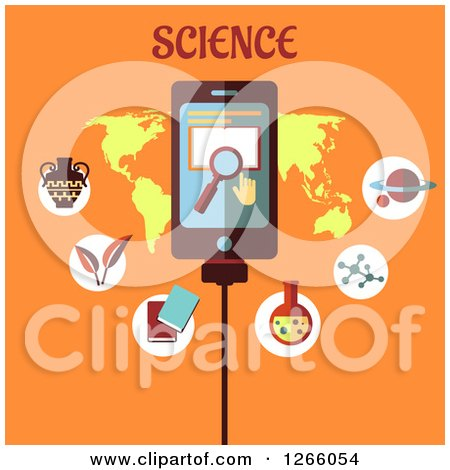 Clipart of a Tablet with Search Icons over a Map with Science Text on Orange - Royalty Free Vector Illustration by Vector Tradition SM