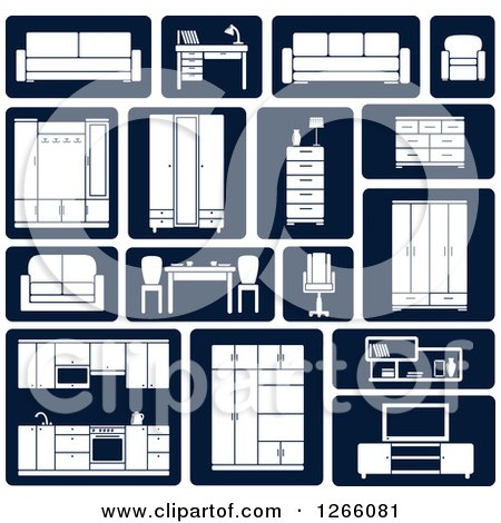 Clipart of White and Navy Blue Furniture Icons - Royalty Free Vector Illustration by Vector Tradition SM