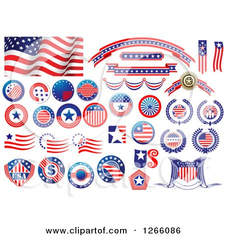 Clipart of American Flag Designs - Royalty Free Vector Illustration by Vector Tradition SM