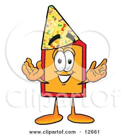 Clipart Picture of a Price Tag Mascot Cartoon Character Wearing a Birthday Party Hat by Toons4Biz