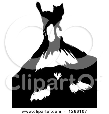 Clipart of a Scared Black Cat Casting a Monster Shadow - Royalty Free Vector Illustration by BNP Design Studio