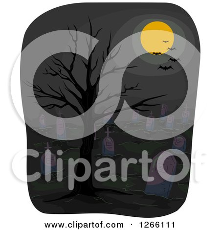 Clipart of a Full Moon and Bats over a Dark Cemetery with a Bare Tree - Royalty Free Vector Illustration by BNP Design Studio