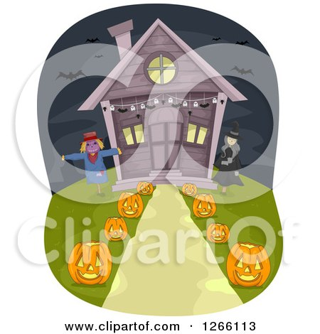 Clipart of a Scarecrow, Witch and Path Lined with Halloween Jackolanterns Leading to a House - Royalty Free Vector Illustration by BNP Design Studio