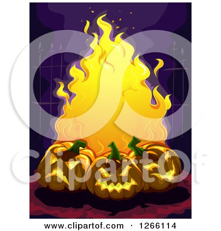 Clipart of a Trio of Evil Carved Halloween Jackolantern Pumpkins and Flames Against a Wrought Iron Fence - Royalty Free Vector Illustration by BNP Design Studio