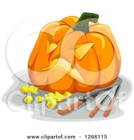 Clipart of a Carved Halloween Jackolantern Pumpkin and Tools - Royalty Free Vector Illustration by BNP Design Studio