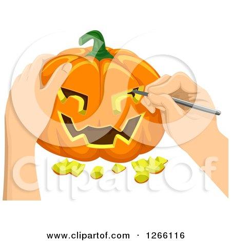 Clipart of Hands Carving a Halloween Jackolantern Pumpkin - Royalty Free Vector Illustration by BNP Design Studio