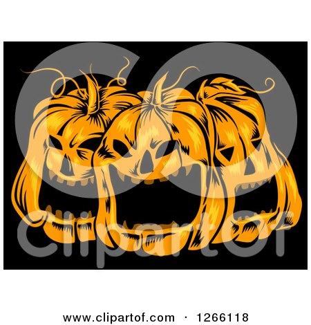 Clipart of a Trio of Spooky Halloween Jackolantern Pumpkins on Black - Royalty Free Vector Illustration by BNP Design Studio