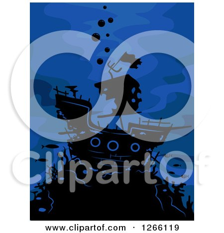 Clipart of a Silhouetted Ghost Ship on Blue - Royalty Free Vector Illustration by BNP Design Studio