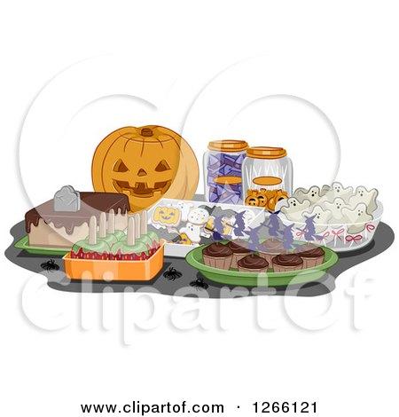 Clipart of a Carved Halloween Jackolantern Pumpkin and Treats - Royalty Free Vector Illustration by BNP Design Studio