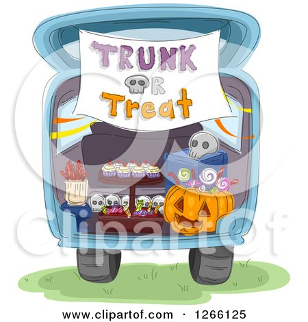 Clipart of a Trunk or Treat Banner over Halloween Sweets in the Back of a Car - Royalty Free Vector Illustration by BNP Design Studio