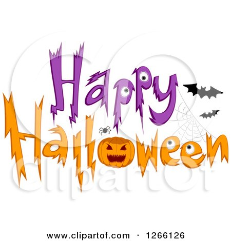 Clipart of a Happy Halloween Greeting with a Spider, Jackolantern and Bats - Royalty Free Vector Illustration by BNP Design Studio