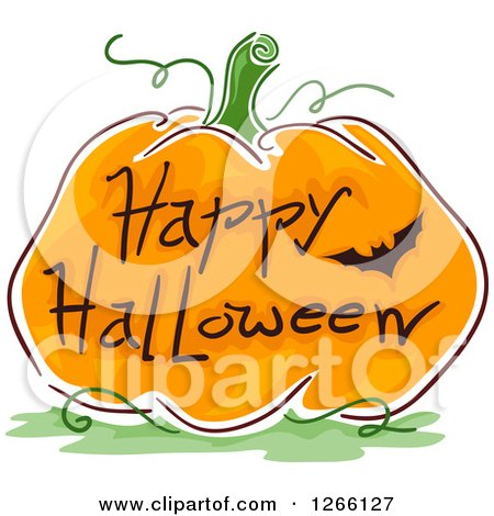 Clipart of a Bat and Happy Halloween Greeting on a Sketched Pumpkin - Royalty Free Vector Illustration by BNP Design Studio