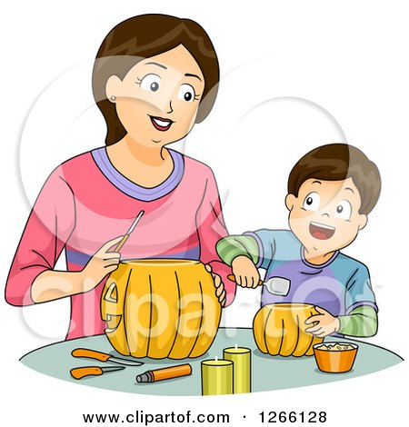 Clipart of a Brunette White Mom and Son Carving Halloween Pumpkins Together - Royalty Free Vector Illustration by BNP Design Studio